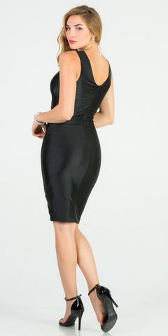 Fitted Short Cocktail Dress Ruched Front Black