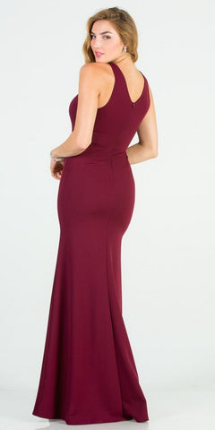Burgundy Mermaid Long Formal Dress with Embellished Neckline
