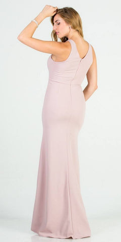 Mauve Mermaid Long Formal Dress with Embellished Neckline