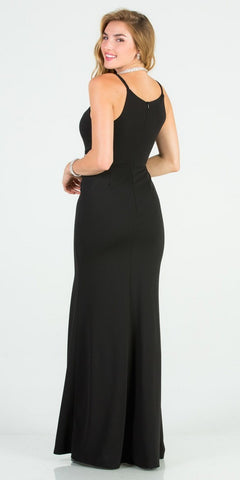 Embellished Waist Black Mermaid Long Formal Dress