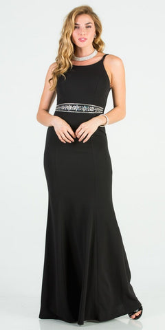 Lace Beaded Long Prom Dress Open-Back Charcoal