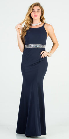 Embellished Waist Long Prom Dress Royal Blue with Pockets