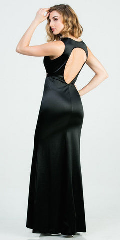 Sleeveless Black Long Formal Dress with Cut-Out Back