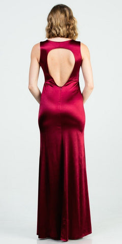 Sleeveless Burgundy Long Formal Dress with Cut-Out Back