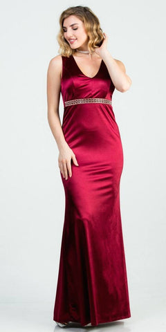 Cinderella 7749 Red Satin Dress Pleated Bodice Strapless Corset Back