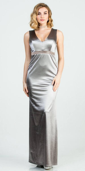 Sleeveless Silver Long Formal Dress with Cut-Out Back