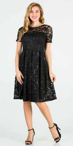 Knee Length Fit and Flare Lace Black Dress Short Sleeve