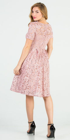 Knee Length Fit and Flare Lace Blush Dress Short Sleeve