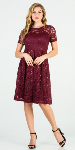 Knee Length Fit and Flare Lace Burgundy Dress Short Sleeve