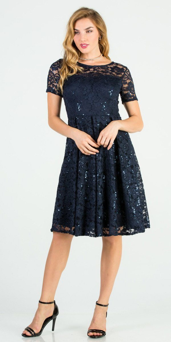 09933280bfb1 Knee Length Fit and Flare Lace Navy Blue Dress Short Sleeve ...