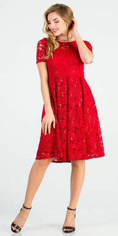 Knee Length Fit and Flare Lace Red Dress Short Sleeve