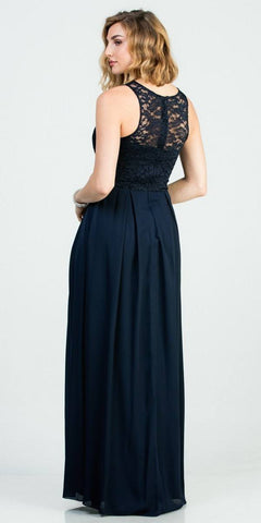 Navy Blue A-Line Long Formal Dress Embellished Neckline