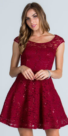 La Scala 25274 Burgundy Short Cocktail Dress Lace Cap Sleeves Boat Neckline