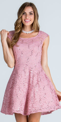 La Scala 25274 Mauve Short Cocktail Dress Lace Cap Sleeves Boat Neckline