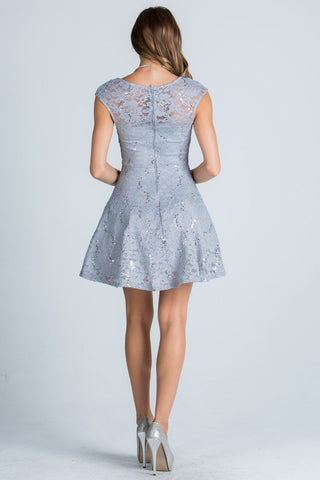 La Scala 25274 Silver  Short Cocktail Dress Lace Cap Sleeves Boat Neckline Back View