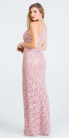 Mauve Long Formal Dress with Spaghetti Straps