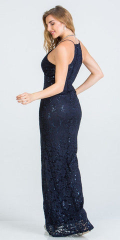 Navy Blue Long Formal Dress with Spaghetti Straps