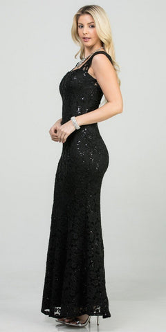 Lace Fit and Flare Long Formal Dress Black