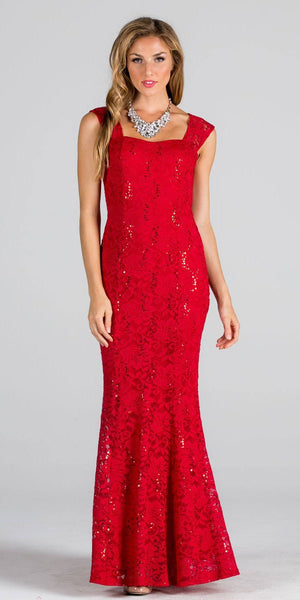 Lace Fit and Flare Long Formal Dress Red