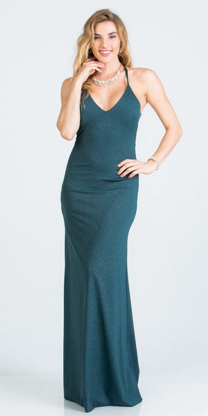 Criss-Cross Back Long Formal Dress V-Neck Hunter Green
