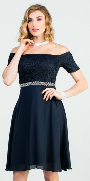 Off-Shoulder Short Cocktail Dress Navy Blue with Short Sleeves