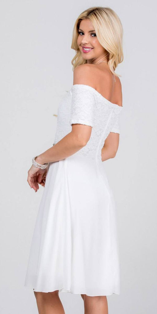 Off-Shoulder Short Cocktail Dress Off White with Short Sleeves