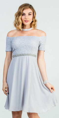 Off-Shoulder Short Cocktail Dress Silver with Short Sleeves