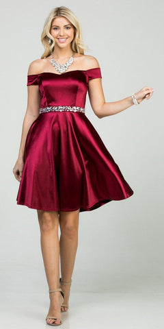 Fit and Flare Stretch Satin Off the Shoulder Short Burgundy Dress