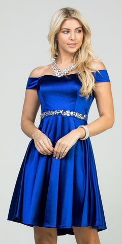 Fit and Flare Stretch Satin Off the Shoulder Short Royal Blue Dress