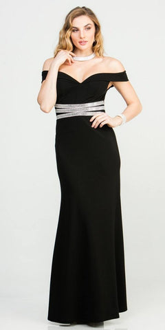 Embellished Waist High and Low Cocktail Dress Black