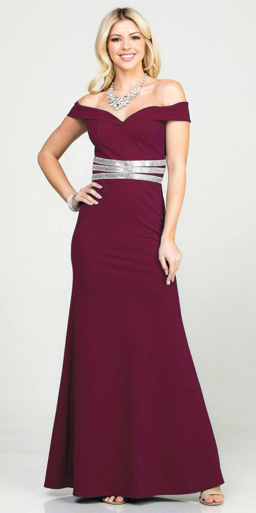 Mermaid Long Formal Dress Off-Shoulder Burgundy