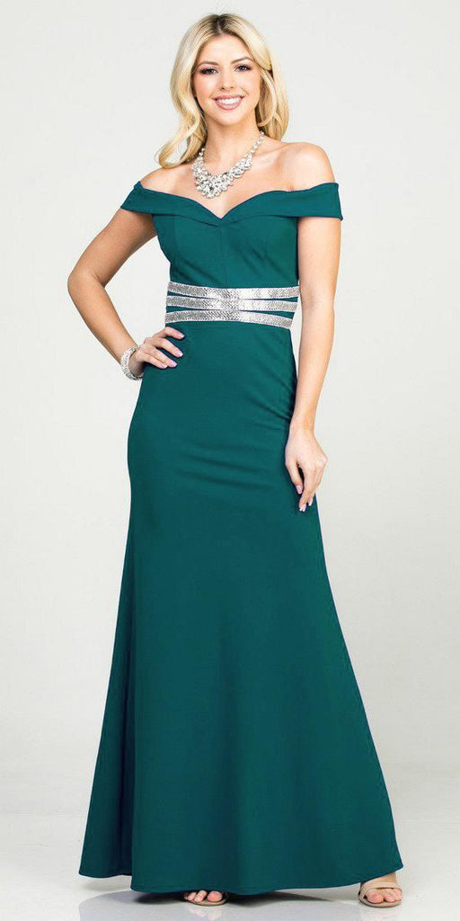 Mermaid Long Formal Dress Off-Shoulder Hunter Green