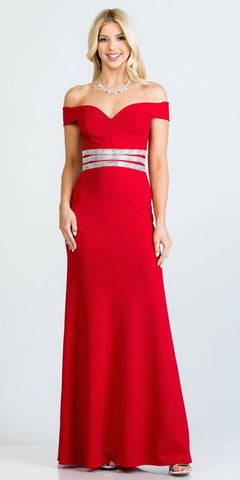 Cold-Shoulder Beaded Waist Long Formal Dress Red