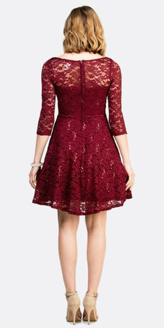 Short Cocktail Burgundy Dress Embellished Waist Fit And Flare