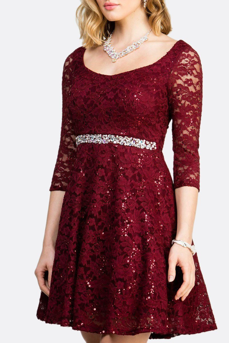 51e07e62e0 ... Short Cocktail Burgundy Dress Embellished Waist Fit And Flare ...