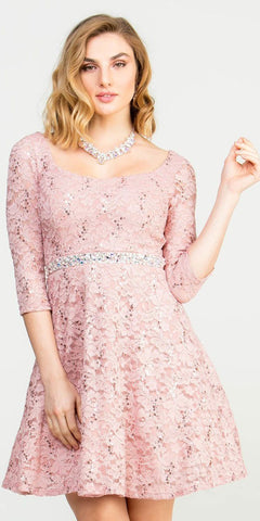 Short Cocktail Mauve Dress Embellished Waist Fit And Flare