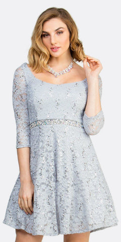 Short Cocktail Silver Dress Embellished Waist Fit And Flare