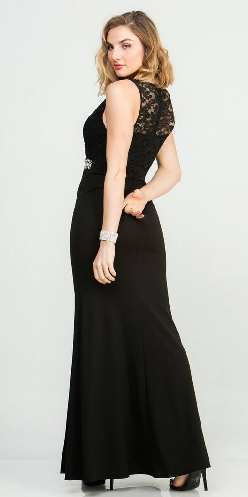 Embellished Waist V-Neck Long Formal Dress Black