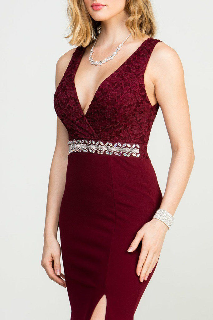 Embellished Waist V-Neck Long Formal Dress Burgundy