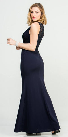 Embellished Waist V-Neck Long Formal Dress Navy Blue