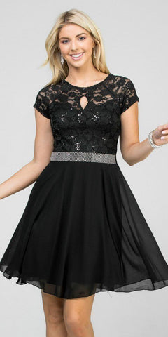 Embellished Waist Short Cocktail Dress Black
