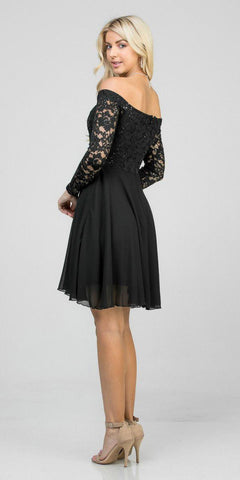 Off-Shoulder Long Sleeved Short Cocktail Dress Black