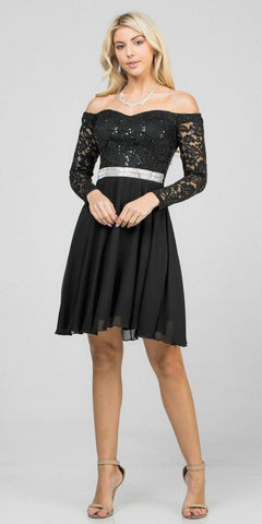 Ruffled Off-Shoulder Short Party Dress Brown