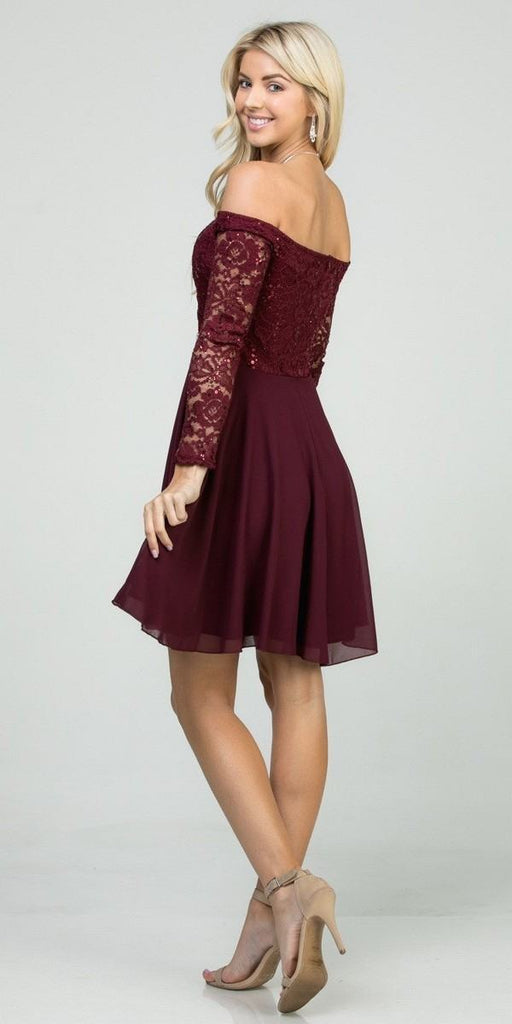 Off-Shoulder Long Sleeved Short Cocktail Dress Burgundy
