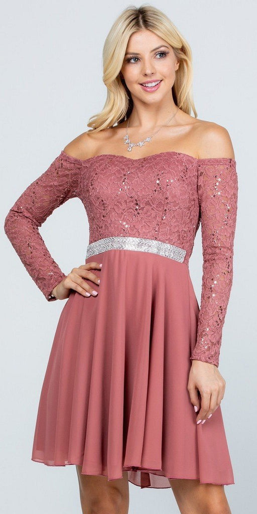 La Scala 25406 Off-Shoulder Long Sleeved Short Cocktail Dress Dark Mauve