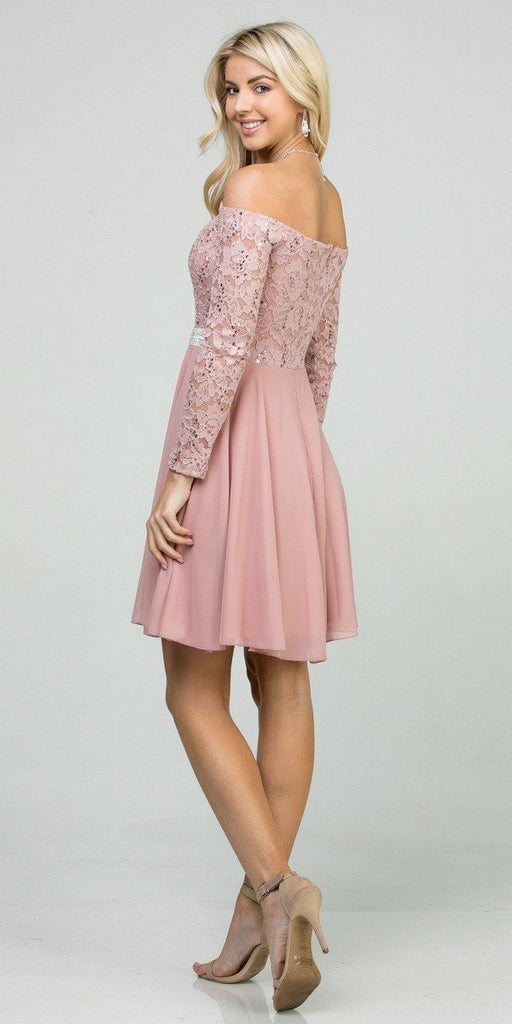 Off-Shoulder Long Sleeved Short Cocktail Dress Mauve