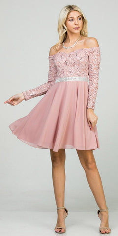 Embellished Waist Short Cocktail Dress Blush