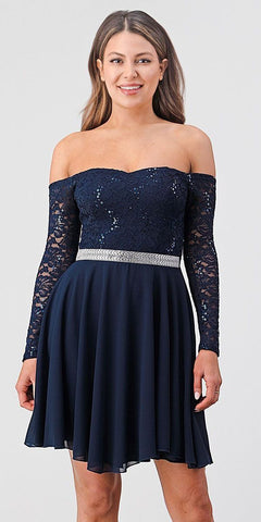 La Scala 25406 Off-Shoulder Long Sleeved Short Cocktail Dress Navy Blue