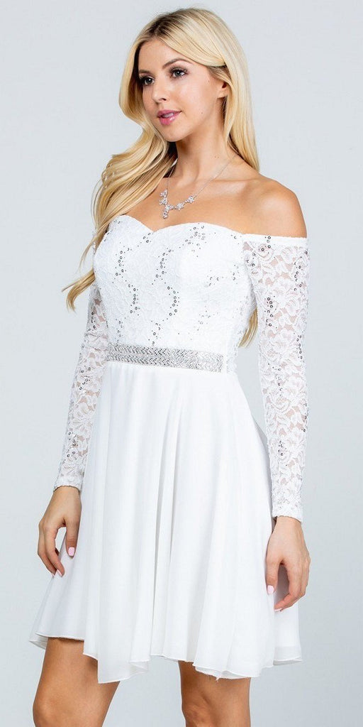 La Scala 25406 Off-Shoulder Long Sleeved Short Cocktail Dress Off White