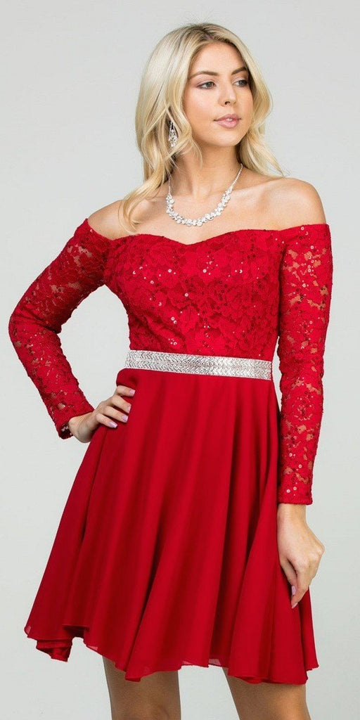 La Scala 25406 Off-Shoulder Long Sleeved Short Cocktail Dress Red